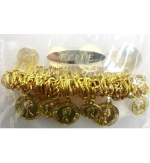 BRACELET #STB59513G GOLD COIN
