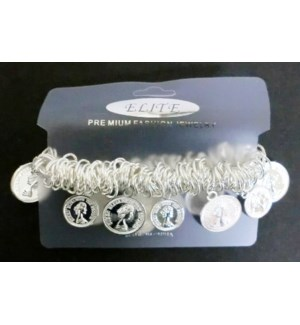 BRACELET #STB59513S SILVER COIN