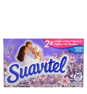 SUAVITEL DRYER SHEETS #45798 SOOTHING LAVENDER