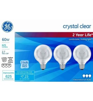 GE #48065 3PK LIGHT BULBS/CRYSTAL CLEAR