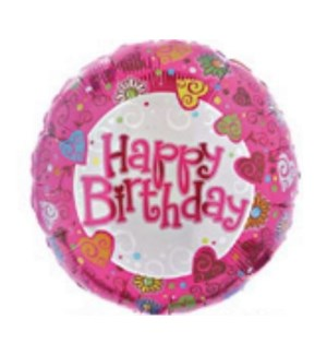 BALLOON #114856-2 BIRTHDAY, PINK