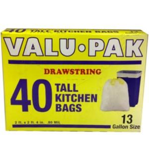 VALUE PACK - 13GAL DRAWSTRING TRASH BAG