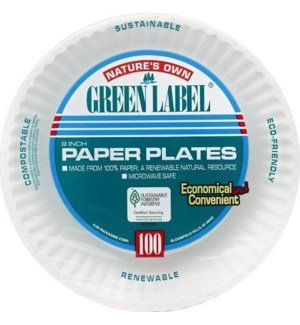 """PAPER PLATE #69102 9"""" PLATE 100CT"""