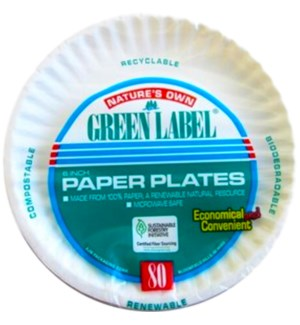 "6"" PAPER PLATES #72728 GREEN LABEL"