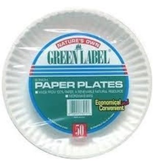 PAPER PLATES 50CT #73571 GREEN LABEL