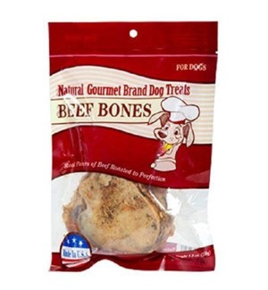 DOG TREAT #84202 BEEF BONES, NATURAL GORMET
