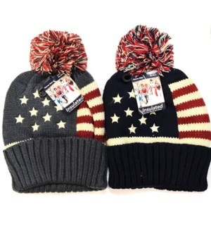 MY #24323 POM POM KNIT HAT, USA FLAG