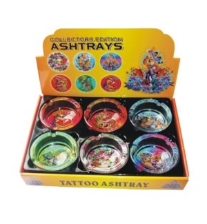 MY #79015 GLASS ASHTRAY/TATTOO