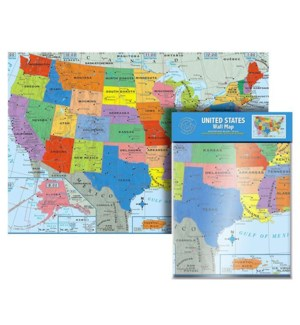 BAZIC #87193 U.S. WALL MAP, FOLDED