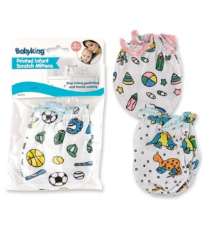 BK23 INFANT SCRATCH MITTENS/PRINTED