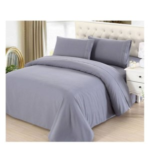 DT BED SHEET SET LIGHT GREY/QUEEN