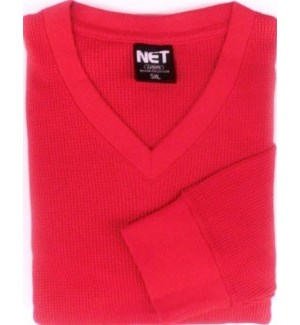 V NECK - RED THERMAL SHIRTS