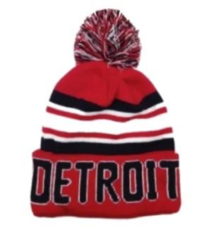 POMPOM DETROIT HAT-ORANGE & BLACK