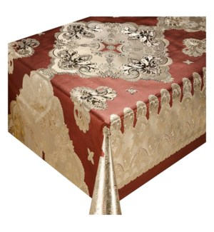 DT #JFTB-010 TABLECLOTH ROLL, LACE/GOLD&BEIGE