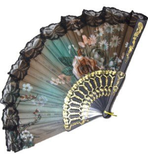 HAND FAN #FS064 BLACK LACE ROSE PRINTED