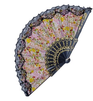 HAND FAN #FS065 BLACK LACE FLORAL