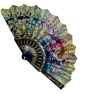 HAND FAN #FS067 BLACK & WHITE FLORAL