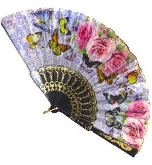 HAND FAN #FS073 FLORAL FABRIC