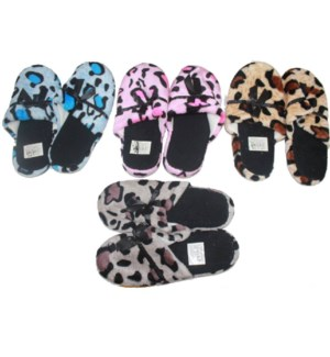 WOMEN WINTER SLIPPERS #SL020 ANIMAL PRINT W/RIBBON
