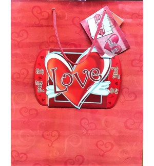 GIFT BAG #01095 LOVE HEART W/PULL OUT NO