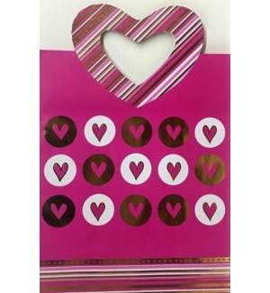 GIFT BAG #01201 PINK W/HEART HANDLE