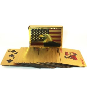 PLAYING CARDS #86419 AMERICAN FLAG GOLD PLATED