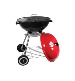 """BBQ GRILL 18"""" #BBQ-RS18R RED, ROUND"""
