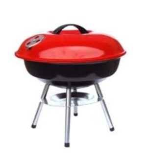 """BBQ GRILL 14"""" #BBQ-R14R RED, ROUND"""