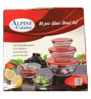 ALPINE CUISINE GLASS BOWL SET #13350 RED LID
