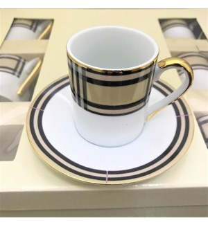 COFFEE CUP & SAUCER #AL24309 GOLD RIM &