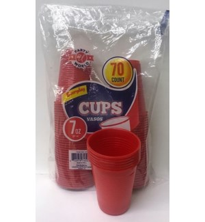 PLASTIC CUPS 7OZ - RED