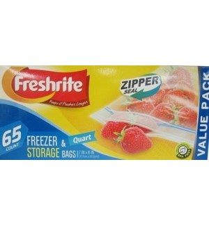 U #IN85611 QT ZIP FREEZER & STORAGE BAGS