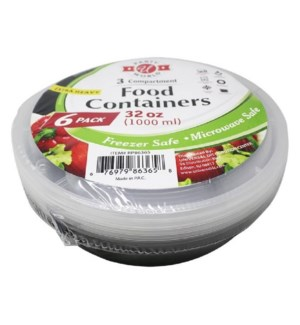 U #RP86365 FOOD CONTAINERS 3-COMPARTMENT