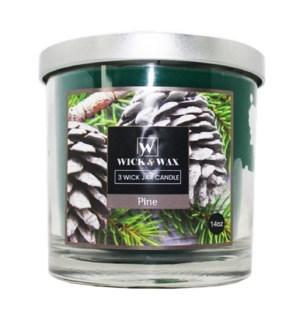 U #96059 3-WICK JAR PINE CANDLE