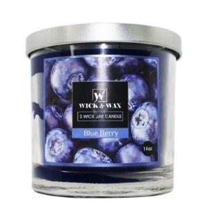 U #96061 3-WICK JAR BLUEBERRY CANDLE