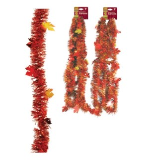 TH'GIVING #HV638 TINSEL GARLAND W/MAPLE LEAVES