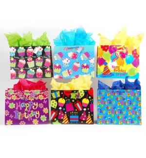 GIFT BAG #BB425H BIRTHDAY HORIZONTAL/ASST