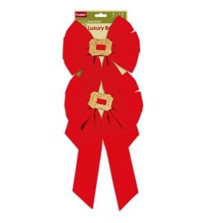 CH-MAS #BW817 2PC RED VELVET BOWS W/GLTR