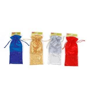 CH-MAS #FB838 SATIN WINE BAG/SEQUINS
