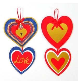 V #AV861 DOUBLE HEART HANGING W/RIBBON