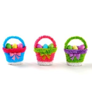 ET #ET3888 TINSEL BASKET W/FOAM EGGS