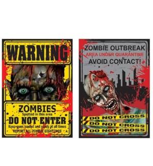 HW #HW817 WARNING SIGN ZOMBIE LENTICULAR