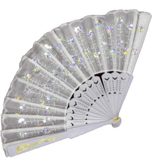 HAND FAN #FS011 WHITE SEQUINS