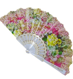 HAND FAN #FS027 FLORAL & LACE