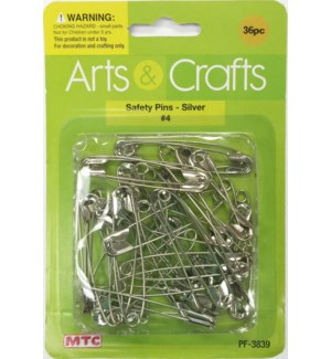 MTC #PF-3839 SAFETY PINS, SILVER