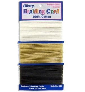 A0844-00 BRAIDING CORD (WHITE.BEIGE.BLAC