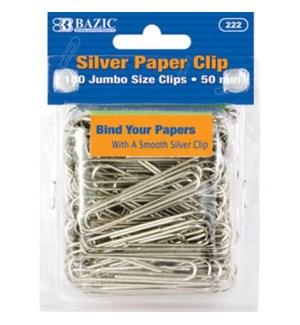 BAZIC #222 PAPER CLIPS, SILVER
