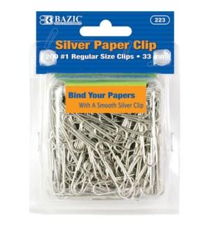 BAZIC #223 PAPER CLIPS, SILVER