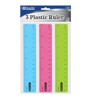 BAZIC #338 PLASTIC RULER, ASST