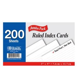 BAZIC #515 INDEX CARD RULED WHITE
